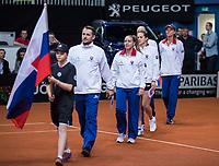 Bratislava, Slovenia, April 22, 2017,  FedCup: Slovakia-Netherlands, seccond rubber : Slovenian team walking on court<br /> Photo: Tennisimages/Henk Koster