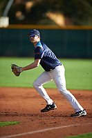 Avery Cook (17) of Whitesboro High School in Deerfield, New York during the Under Armour All-American Pre-Season Tournament presented by Baseball Factory on January 14, 2017 at Sloan Park in Mesa, Arizona.  (Mike Janes/MJP/Four Seam Images)