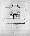 Pittsburgh PA:  View of a drawing created by Ingram & Boyd Architects of the new Buhl Planetarium.  This view is the proposed 2nd-floor layout of the planetarium. The project was completed in 1939.  The Buhl Planetarium was built with monies from the Buhl Foundation; a foundation created by the wealthy North Side clothier Henry Buhl of Boggs and Buhl department store fame.  Brady Stewart was selected for the job due to his specialized equipment; an 8x10 Dierdorff camera, and his expertise in lighting and photographing large renderings and drawings.
