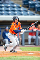 Bowling Green Hot Rods third baseman Connor Hollis (5) follows through on his swing against the West Michigan Whitecaps on May 21, 2019 at Fifth Third Ballpark in Grand Rapids, Michigan. The Whitecaps defeated the Hot Rods 4-3.  (Andrew Woolley/Four Seam Images)