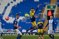 Saturday 25 January 2014<br /> Pictured: Leon Britton head the ball forwards<br /> Re: Birmingham City v Swansea City FA Cup fourth round match at St. Andrew's Birimingham