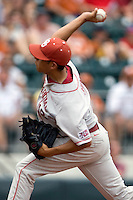 Pitcher Bobby Shore #16 of the Oklahoma Sooners delivers against the Texas Longhorns in NCAA Big XII baseball on May 1, 2011 at Disch Falk Field in Austin, Texas. (Photo by Andrew Woolley / Four Seam Images)