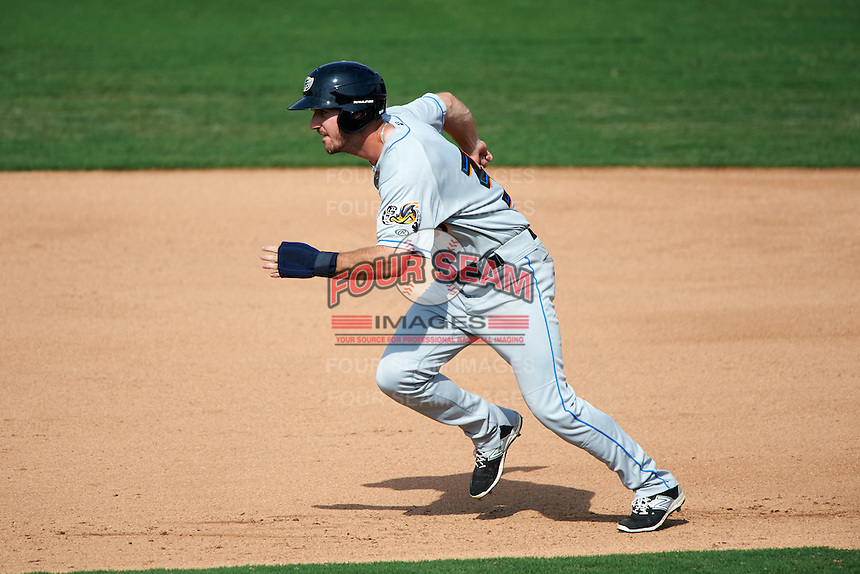 Akron RubberDucks right fielder Mike Papi (38) steals second during the second game of a doubleheader against the Bowie Baysox on June 5, 2016 at Prince George's Stadium in Bowie, Maryland.  Bowie defeated Akron 12-7.  (Mike Janes/Four Seam Images)
