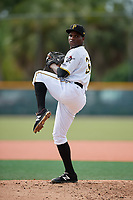 GCL Pirates relief pitcher Juan Henriquez (36) delivers a pitch during the first game of a doubleheader against the GCL Yankees East on July 31, 2018 at Pirate City Complex in Bradenton, Florida.  GCL Yankees East defeated GCL Pirates 2-0.  (Mike Janes/Four Seam Images)