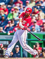 22 June 2014: Washington Nationals first baseman Adam LaRoche in action against the Atlanta Braves at Nationals Park in Washington, DC. The Nationals defeated the Braves 4-1 to split their 4-game series and take sole possession of first place in the NL East. Mandatory Credit: Ed Wolfstein Photo *** RAW (NEF) Image File Available ***