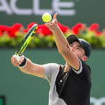 March 09, 2018: Ernesto Escobedo (USA) serves as he defeated Frances Tiafoe (USA) 7-5, 6-3 at the BNP Paribas Open played at the Indian Wells Tennis Garden in Indian Wells, California. ©Mal Taam/TennisClix/CSM