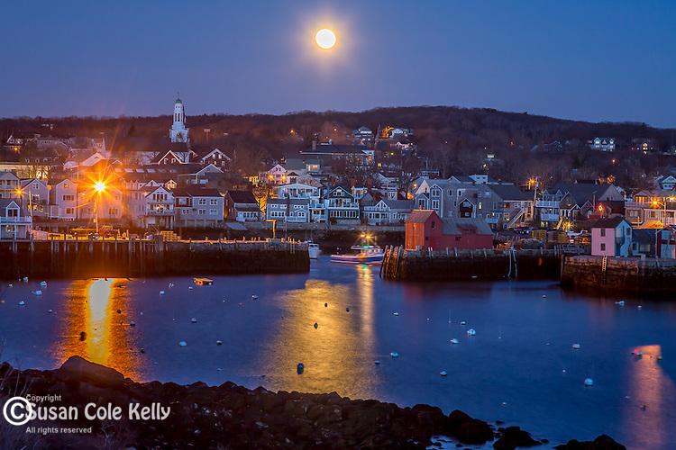 Moonset over the town of Rockport, Massachusetts, USA