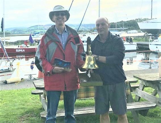 Brendan Watson, left (winner of the Gortmore Bell), Dan O'Donnell (Racing Captain of Iniscealtra Sailing Club)