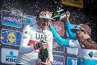Champagne Showering podium:<br /> <br /> 1st place Alexander Kristoff (NOR/UAE)<br /> 3th place Oliver Naesen (BEL/AG2R La Mondiale)<br /> <br /> 82nd Gent – Wevelgem in Flanders Fields 2019 (1.UWT)<br /> Deinze – Wevelgem: 251,5km<br /> ©kramon
