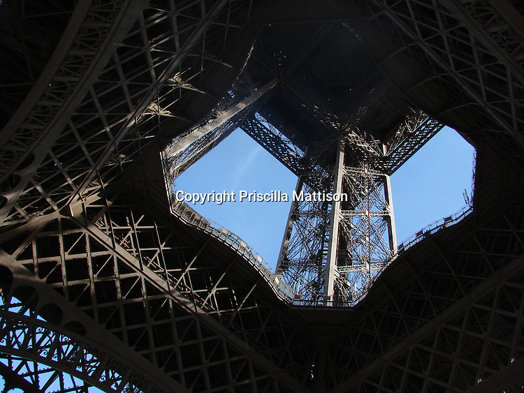 Paris, France - January 5, 2008:  The structure of the Eiffel Tower is impressive as seen from the ground.