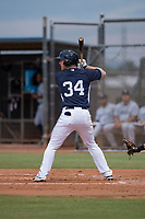 AZL Padres 2 catcher Stephen McGee (34) at bat in a rehab appearance during an Arizona League game against the AZL Padres 1 at Peoria Sports Complex on July 14, 2018 in Peoria, Arizona. The AZL Padres 1 defeated the AZL Padres 2 4-0. (Zachary Lucy/Four Seam Images)