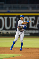 AZL Royals shortstop Rafael Romero (40) on defense against the AZL Mariners on July 29, 2017 at Peoria Stadium in Peoria, Arizona. AZL Royals defeated the AZL Mariners 11-4. (Zachary Lucy/Four Seam Images)
