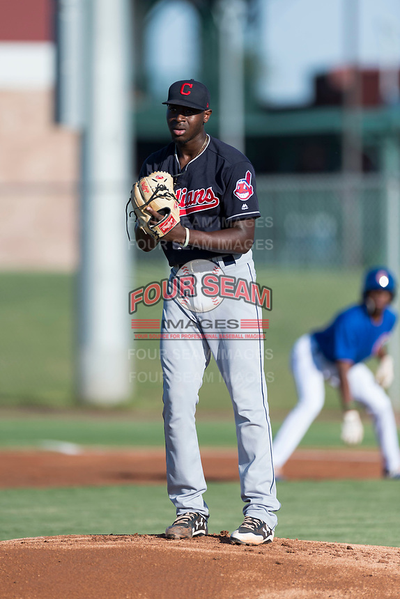 AZL Indians 1 starting pitcher Tahnaj Thomas (40) gets ready to deliver a pitch during an Arizona League game against the AZL Cubs 1 at Sloan Park on August 27, 2018 in Mesa, Arizona. The AZL Cubs 1 defeated the AZL Indians 1 by a score of 3-2. (Zachary Lucy/Four Seam Images)