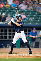 Northwest Arkansas Naturals right fielder Logan Moon (18) at bat during a game against the Midland RockHounds on May 27, 2017 at Arvest Ballpark in Springdale, Arkansas.  NW Arkansas defeated Midland 3-2.  (Mike Janes/Four Seam Images)