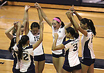 Nevada volleyball team members compete against Seattle University in an NCAA women's college volleyball in Reno, Nev., on Thursday, Oct. 20, 2011. Nevada won 3-0..Photo by Cathleen Allison