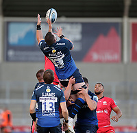 9th September 2020; AJ Bell Stadium, Salford, Lancashire, England; English Premiership Rugby, Sale Sharks versus Saracens;  James Phillips of Sale Sharks catches a high ball