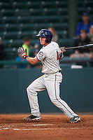 Fort Myers Miracle left fielder Logan Wade (4) at bat during a game against the Daytona Tortugas on April 17, 2016 at Jackie Robinson Ballpark in Daytona, Florida.  Fort Myers defeated Daytona 9-0.  (Mike Janes/Four Seam Images)