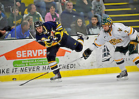 16 February 2008: Merrimack College Warriors' forward Joe Cucci, a Freshman from Melrose Park, IL, in action against the University of Vermont Catamounts at Gutterson Fieldhouse in Burlington, Vermont. The Catamounts defeated the Warriors 2-1 for their second win of the 2-game weekend series...Mandatory Photo Credit: Ed Wolfstein Photo