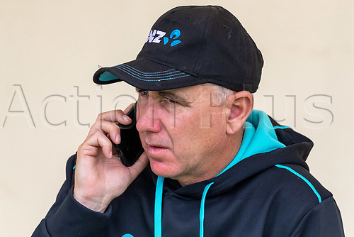 20th November 2020; John Davies Oval, Queenstown, Otago, South Island of New Zealand. Black Caps coach Gary Stead on his mobile phone