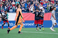 FOXBOROUGH, MA - JULY 25: Brandon Bye #15 of New England Revolution and Gustavo Bou #7 of New England Revolution celebrate the goal during a game between CF Montreal and New England Revolution at Gillette Stadium on July 25, 2021 in Foxborough, Massachusetts.