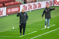 3rd October 2020; Riverside Stadium, Middlesbrough, Cleveland, England; English Football League Championship Football, Middlesbrough versus Barnsley; Middlesbrough FC Manager Neil Warnock and Barnsley FC Manager Gerhard Struber animated on the touch line