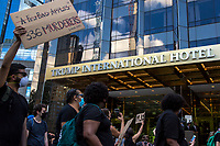 NEW YORK, NEW YORK - June 7: Protesters insult the police protecting the Donald Trump tower near Central Park on June 7, 2020 in New York, NY. Protesters continue to take to the streets across the United States and other parts of the world after the murder of George Floyd by a white police officer Derek Chauvin. The protests attempt to give voice to the need for African American human rights. (Photo by Pablo Monsalve / VIEWpress)