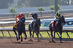 CERRITOS, CA  JULY 14:   #4 Once On Whiskey, ridden by Flavien Prat, and #3 Ax Man, ridden by Drayden Van Dyke, take on #1 Draft Pick, ridden by Joseph Talamo, in the stretch of the Los Alamitos Derby (Grade lll)  on July 14, 2018, at Los Alamitos Race Course in Cerritos, CA.(Photo by Casey Phillips/Eclipse Sportswire/Getty Images)