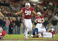 STANFORD, CA - November 6, 2010:  Matt Masifilo celebrates after blocking a pass during a 42-17 Stanford win over the University of Arizona, in Stanford, California.