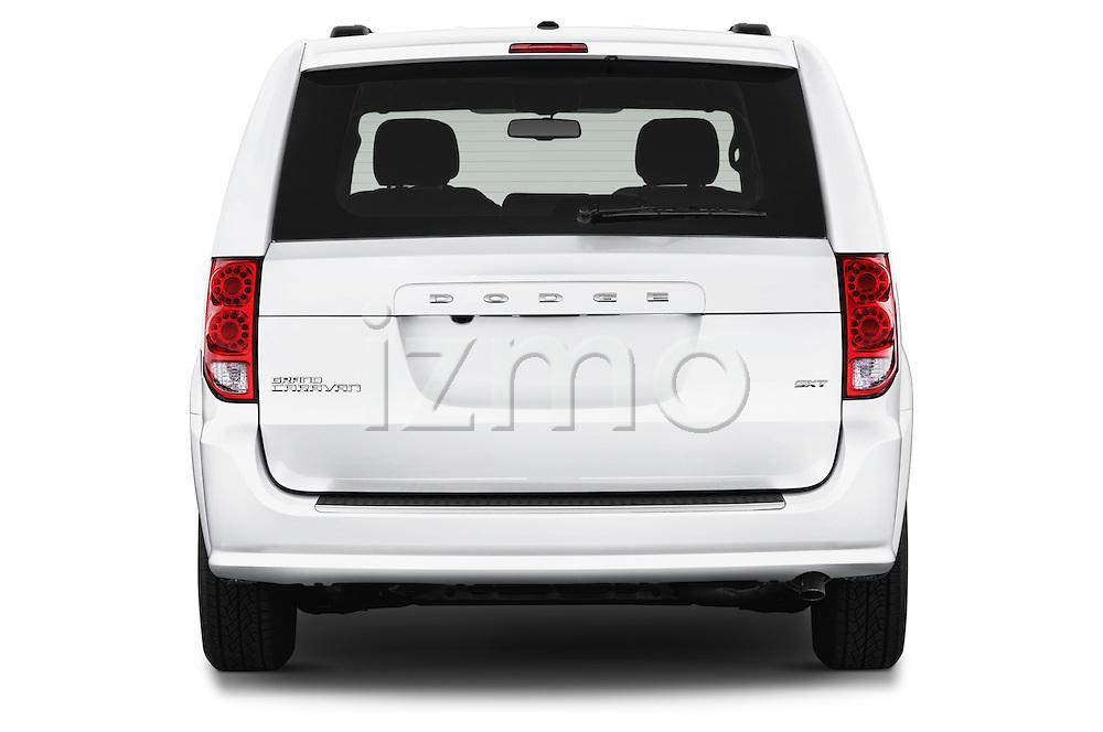 Straight rear view of 2018 Dodge Grand-Caravan SXT 5 Door Minivan Rear View  stock images
