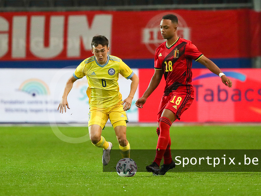 Killian Sardella (18) of Belgium in actionduring a soccer  game between the national teams Under21 Youth teams of Belgium and Kazakhstan on the third matday in group I for the qualification for the Under 21 EURO 2023 , on friday 8 th of october 2021  in Leuven , Belgium . PHOTO SPORTPIX | SEVIL OKTEM