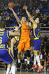Montakit Fuenlabrada's Francisco Cruz (l) and Herbalife Gran Canaria's Kyle Kuric during Eurocup, Top 16, Round 2 match. January 10, 2017. (ALTERPHOTOS/Acero)