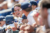 Michigan Wolverines outfielder Jesse Franklin (7) laughs during Game 11 of the NCAA College World Series against the Texas Tech Red Raiders on June 21, 2019 at TD Ameritrade Park in Omaha, Nebraska. Michigan defeated Texas Tech 15-3 and is headed to the CWS Finals. (Andrew Woolley/Four Seam Images)