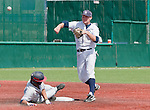 April 28, 2012:   Nevada Wolf Pack's Joe Kohan turns a double play over the sliding  Fresno State Bulldogs runner, Chris Mariscal, during their NCAA baseball game played at Peccole Park on Saturday afternoon in Reno, Nevada.