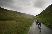 Peloton on it's way to Honister Pass in the beautiful, brutal Cumbrian Mountains<br /> <br /> Tour of Britain<br /> stage 2: Carlisle to Kendal (187km)