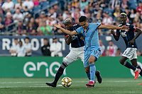 FOXBOROUGH, MA - SEPTEMBER 29: Luis Caicedo #27 of New England Revolution and Tony Rocha #15 of New York City FC battle for the ball during a game between New York City FC and New England Revolution at Gillette Stadium on September 29, 2019 in Foxborough, Massachusetts.