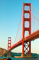 The Golden Gate Bridge in the evening from the Baker Beach and the Presidio, Golden Gate National Recreation Area, San Francisco, California