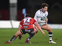 12th February 2021; Kingsholm Stadium, Gloucester, Gloucestershire, England; English Premiership Rugby, Gloucester versus Bristol Bears; Piers O'Conor of Bristol Bears runs at Henry Walker of Gloucester
