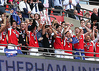 27th May 2018, Wembley Stadium, London, England;  EFL League 1 football, playoff final, Rotherham United versus Shrewsbury Town; Rotherham United manager Paul Warne and Richard Wood of Rotherham United lift the EFL League 1 play off trophy as they gain promotion to the Championship