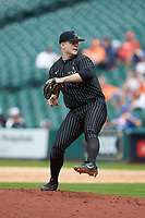 Vanderbilt Commodores relief pitcher Tyler Brown (21) in action against the Sam Houston State Bearkats in game one of the 2018 Shriners Hospitals for Children College Classic at Minute Maid Park on March 2, 2018 in Houston, Texas. The Bearkats walked-off the Commodores 7-6 in 10 innings.   (Brian Westerholt/Four Seam Images)
