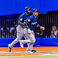 25 March 2019: Milwaukee Brewers catcher Yasmani Grandal crosses the plate after hitting a 2-run homer in the 4th inning of an exhibition game against the Toronto Blue Jays at Olympic Stadium in Montreal, Quebec, Canada. The Brewers defeated the Blue Jays 10-5 in the first of two MLB pre-season games in the former home of the Montreal Expos. Mandatory Credit: Ed Wolfstein Photo *** RAW (NEF) Image File Available ***