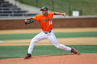Miami Hurricanes relief pitcher Danny Garcia (14) in action against the Wake Forest Demon Deacons at Wake Forest Baseball Park on March 22, 2015 in Winston-Salem, North Carolina.  The Demon Deacons defeated the Hurricanes 10-4.  (Brian Westerholt/Four Seam Images)