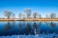 Winter am Sacrow-Paretzer Kanal, Insel Töplitz, Werder/Havel, Potsdam-Mittelmark, Havelland, Brandenburg, Deutschland