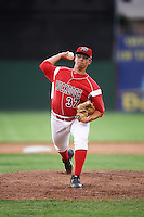 Batavia Muckdogs relief pitcher Alejando Mateo (37) during a game against the Aberdeen Ironbirds on July 15, 2016 at Dwyer Stadium in Batavia, New York.  Aberdeen defeated Batavia 4-2. (Mike Janes/Four Seam Images)