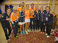 Moskou, Russia, Februari 7, 2016,  Fed Cup Russia-Netherlands, Team celebration, <br /> Photo: Tennisimages/Henk Koster