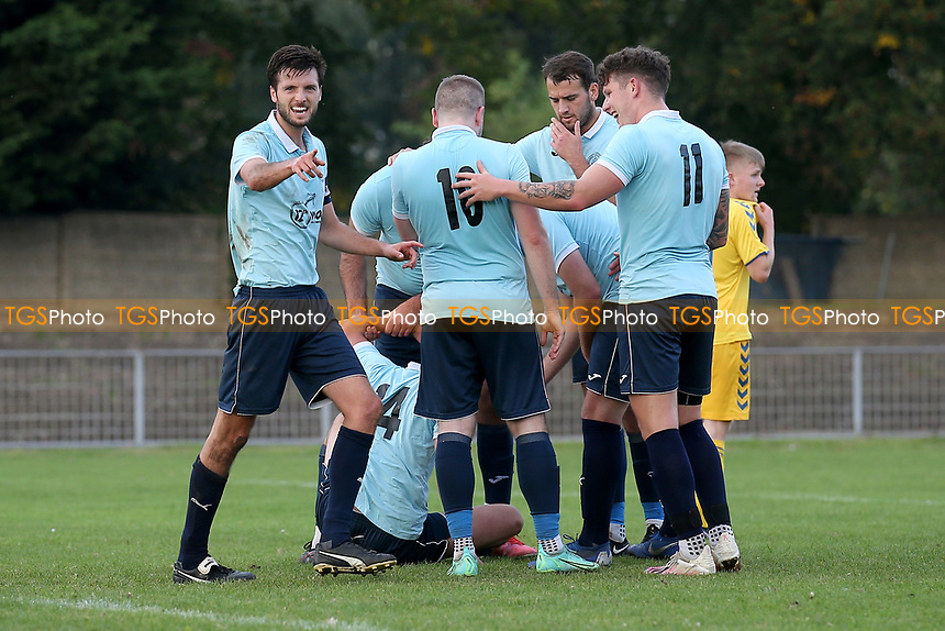 Grant Frances of Barkingside scores the first goal for his team and celebrates with his team mates during Barkingside vs AFC Sudbury Reserves, Thurlow Nunn League Football at Cricklefields Stadium on 9th October 2021