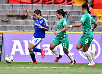 BOGOTA - COLOMBIA, 30-11-2020: Millonarios F.C. y Deportivo Cali partido de los Cuartos de Final Vuelta por la Liga Femenina BetPlay DIMAYOR 2020 jugado en el estadio Nemesio Camacho El Campin en la ciudad de Bogota. / Millonarios F.C. and Deportivo Cali match of the Quarterfinal second Leg for the Women's League BetPlay DIMAYOR 2020 played at the Nemesio Camacho El Campin stadium in Bogota city. / Photo: VizzorImage / Luis Ramirez / Staff.