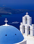 Greece; Cyclades; Santorini; Firostephani: bluewhite church, cruise ship in front of island Nea Kameni