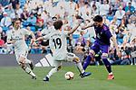 Real Madrid's Alvaro Odriozola and Real Club Celta de Vigo's Okay Yokuslu during La Liga match between Real Madrid and Real Club Celta de Vigo at Santiago Bernabeu Stadium in Madrid, Spain. March 16, 2019. (ALTERPHOTOS/A. Perez Meca)