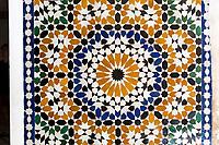 Marrakesh, Morocco.  Bahia Palace, 19th. Century.  Geometric Tile Work (Zellij).