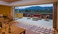 California winery with sliding glass doors opening to sunny patio